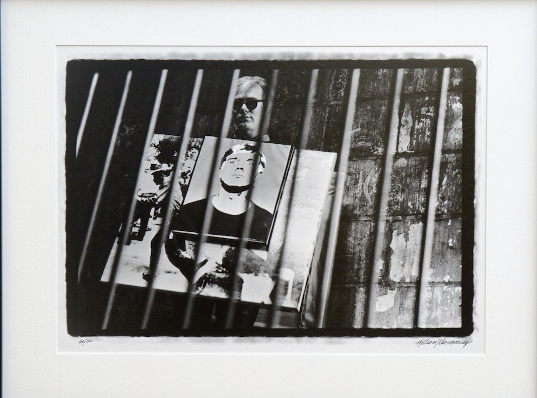 Andy Warhol with Self Portrait and Race Riot Sandwich Boards I