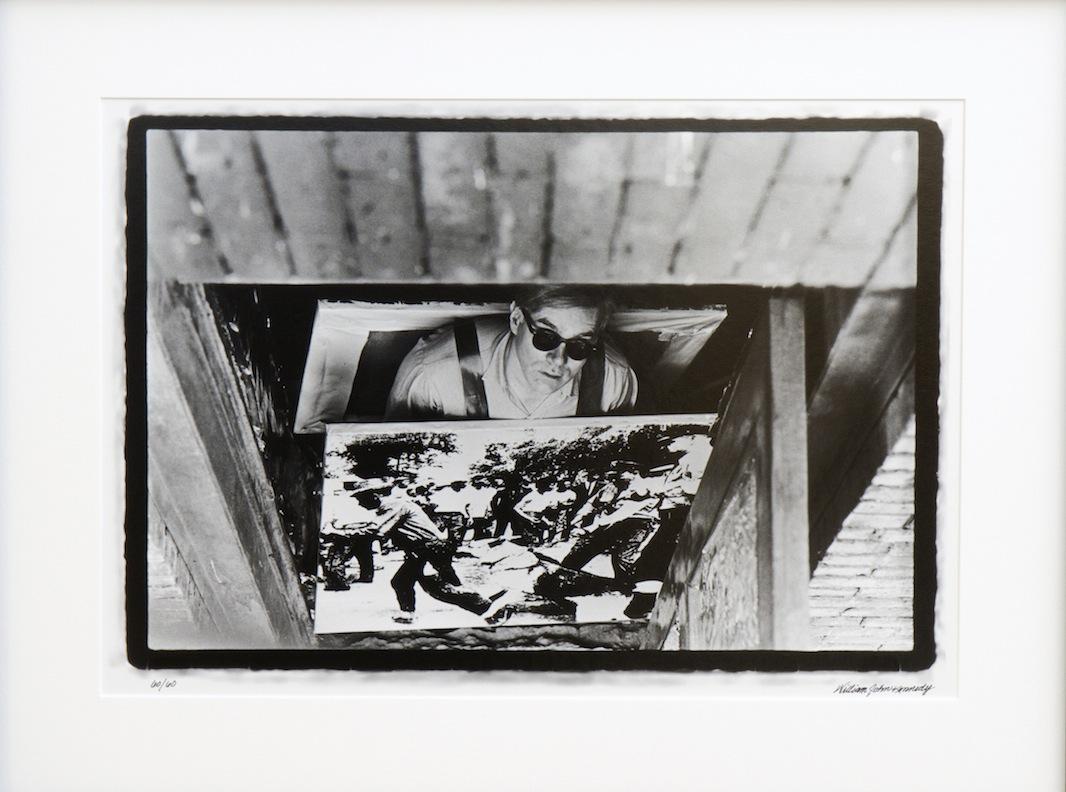 Warhol with Race Riot Sandwich Board
